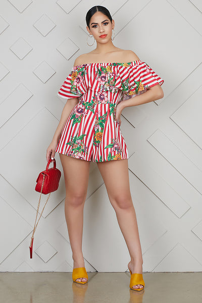 Stripes Meet Floral Romper- FINAL SALE