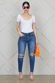 Ripped Medium Wash Ankle Jeans