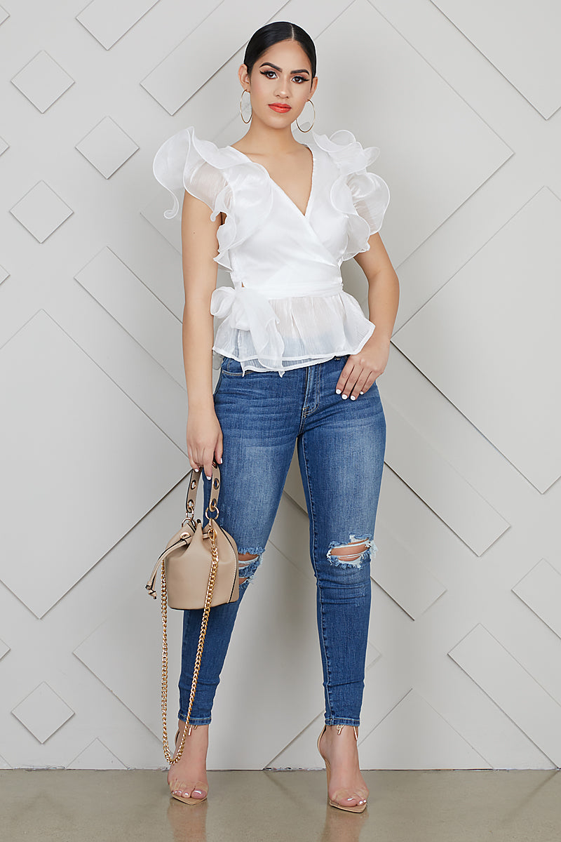 Ruffle Up Statement Blouse- FINAL SALE