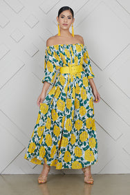 Mellow Yellow Off The Shoulder Dress- FINAL SALE