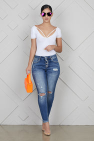Button Up Ankle Cuff Jeans- FINAL SALE