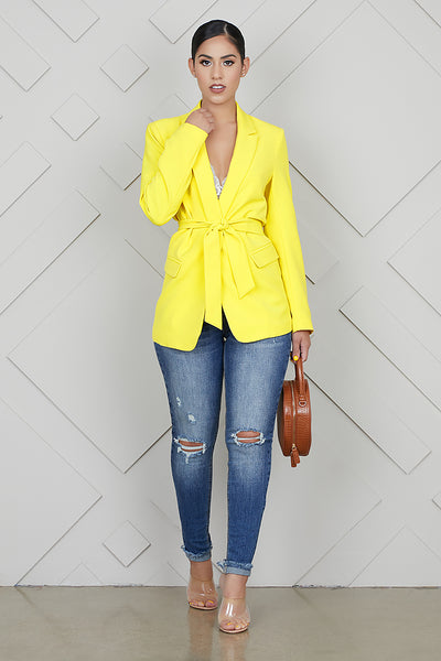 She Means Business Yellow Blazer