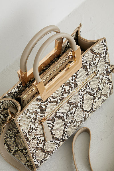 Snakeskin Top Handle Bag