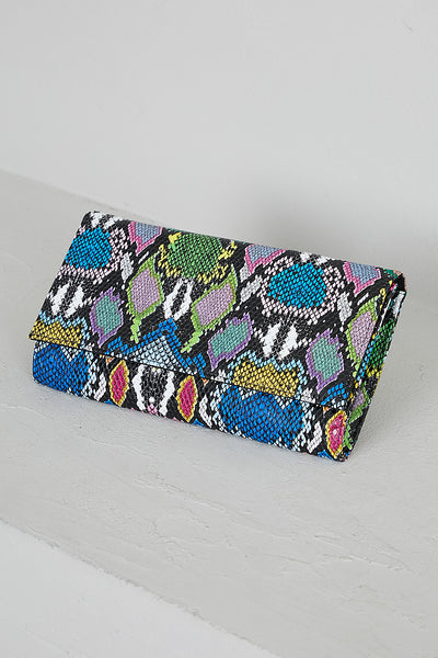 Multi Color Snake Skin Clutch