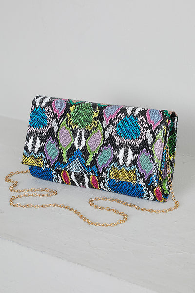 Multi Color Snake Skin Clutch- PREORDER ONLY SHIPS JUNE 21ST