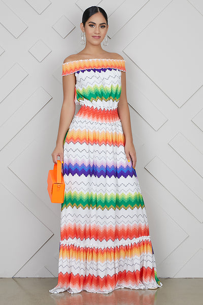 Zig Zag Off The Shoulder Dress