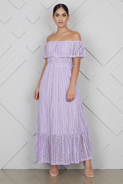 Lace Off The Shoulder Lilac Dress