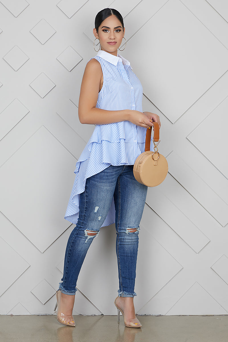 Baby Blue Stripe Hi-Low Top- FINAL SALE