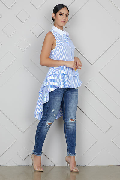 Baby Blue Stripe Hi-Low Top