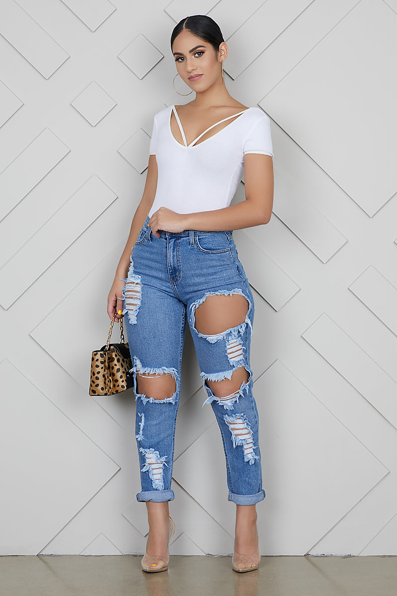 Rip It High Waist Boyfriend Jeans- FINAL SALE