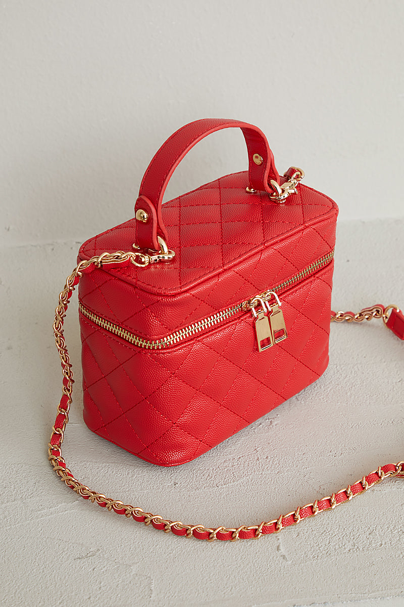 Quilted Top Handle Bag (Red)