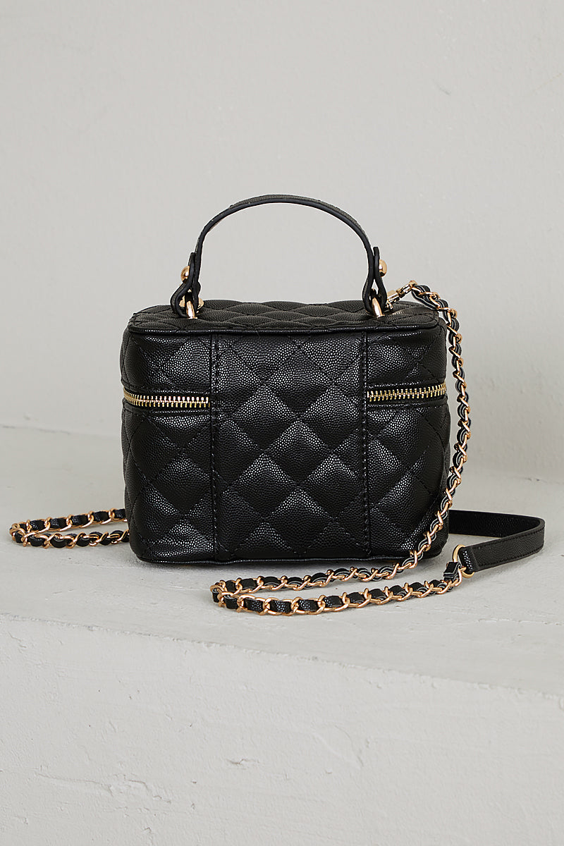 Quilted Top Handle Bag (Black)