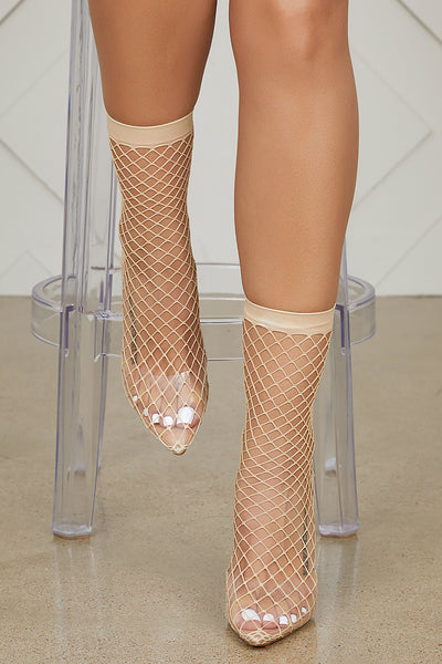 Fishnet Perspex Slingback Pumps (Nude) - FINAL SALE