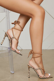 Peveli Snake Lace Up Heels