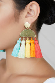 Multi-Color Tassel Earrings
