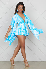 Tie Dye Dramatic Sleeves Romper- FINAL SALE