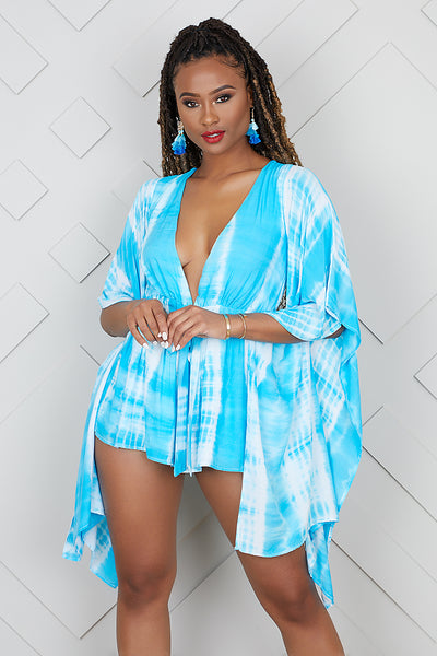 Tie Dye Dramatic Sleeves Romper