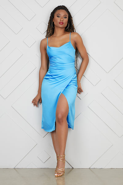 High Split Slip Dress (Aqua)