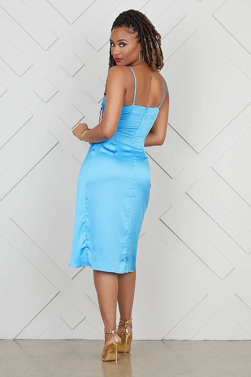 High Split Slip Dress (Aqua)- FINAL SALE