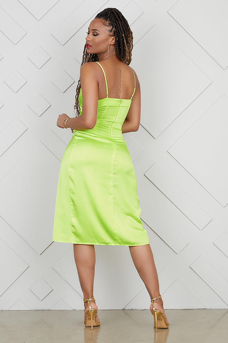 High Split Slip Dress (Lime)