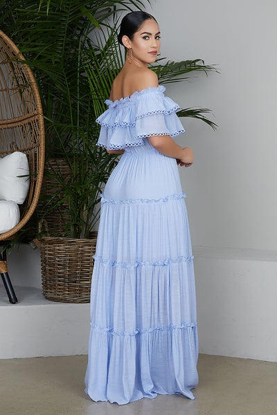 Off The Shoulder Baby Blue Dress