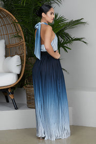 Blue Ombre Halter Top Dress