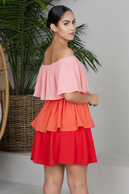Ombre Ruffle Layer Dress