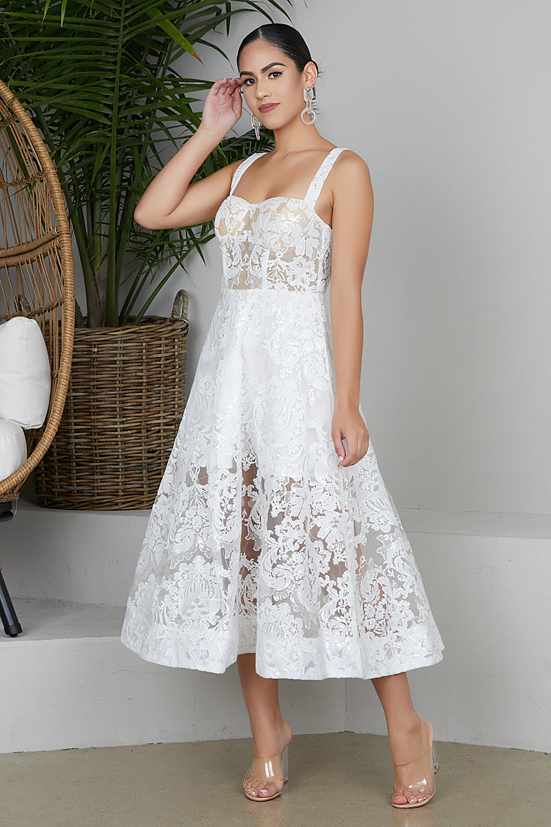 White Lace Midi Dress- FINAL SALE