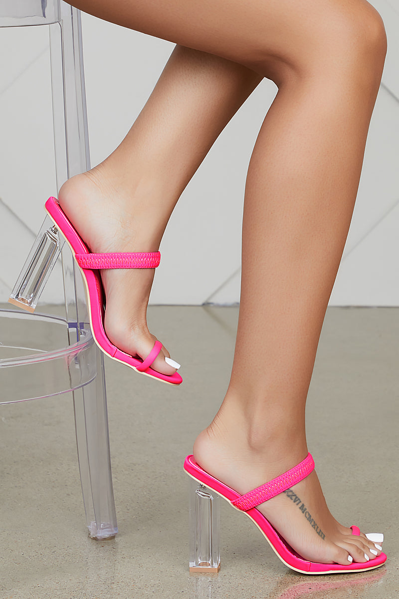 Macaroon Clear Heel (Pink)- FINAL SALE