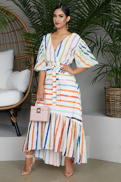 Stripe Ballon Sleeve Dress