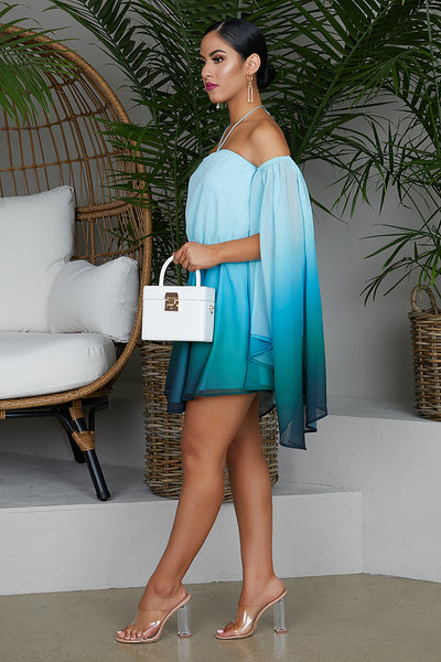 Ombre Dramatic Sleeves Dress (Blue)- FINAL SALE