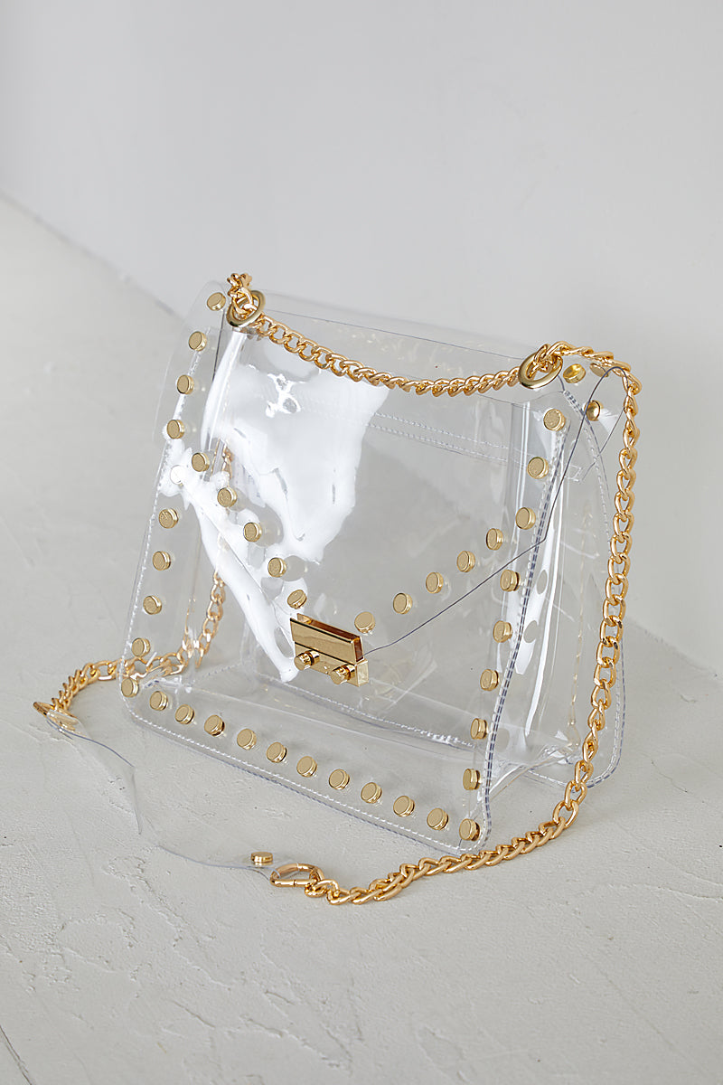 Clear Bag With Gold Studs - FINAL SALE