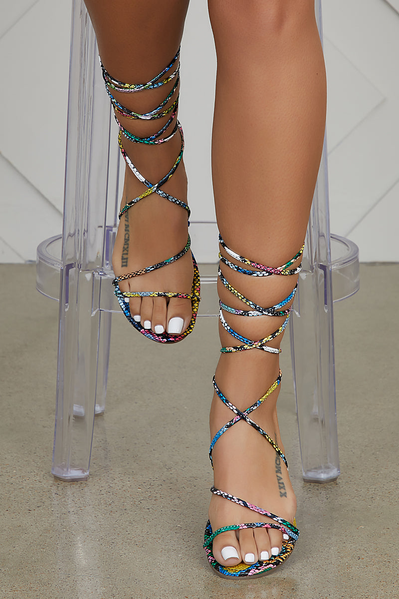 Multi Snake Print Lace-Up Sandal- FINAL SALE