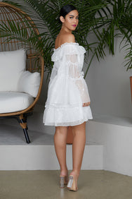 Off The Shoulder White Embroidered Dress