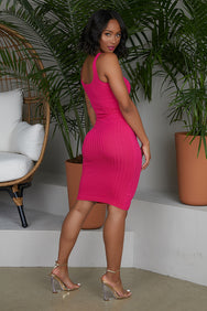 Fitted Ribbed Tank Dress (Hot Pink)