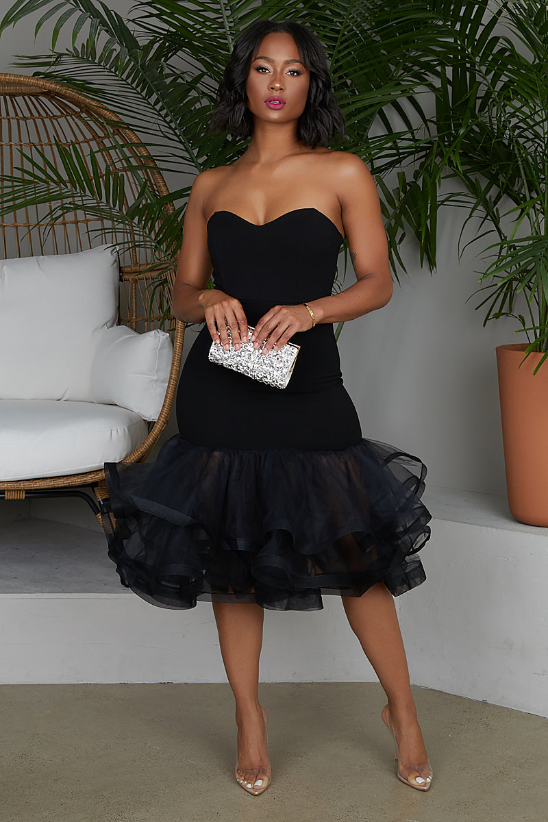 Tulle Midi Dress (Black)- PREORDER ONLY SHIPS AUGUST 23RD