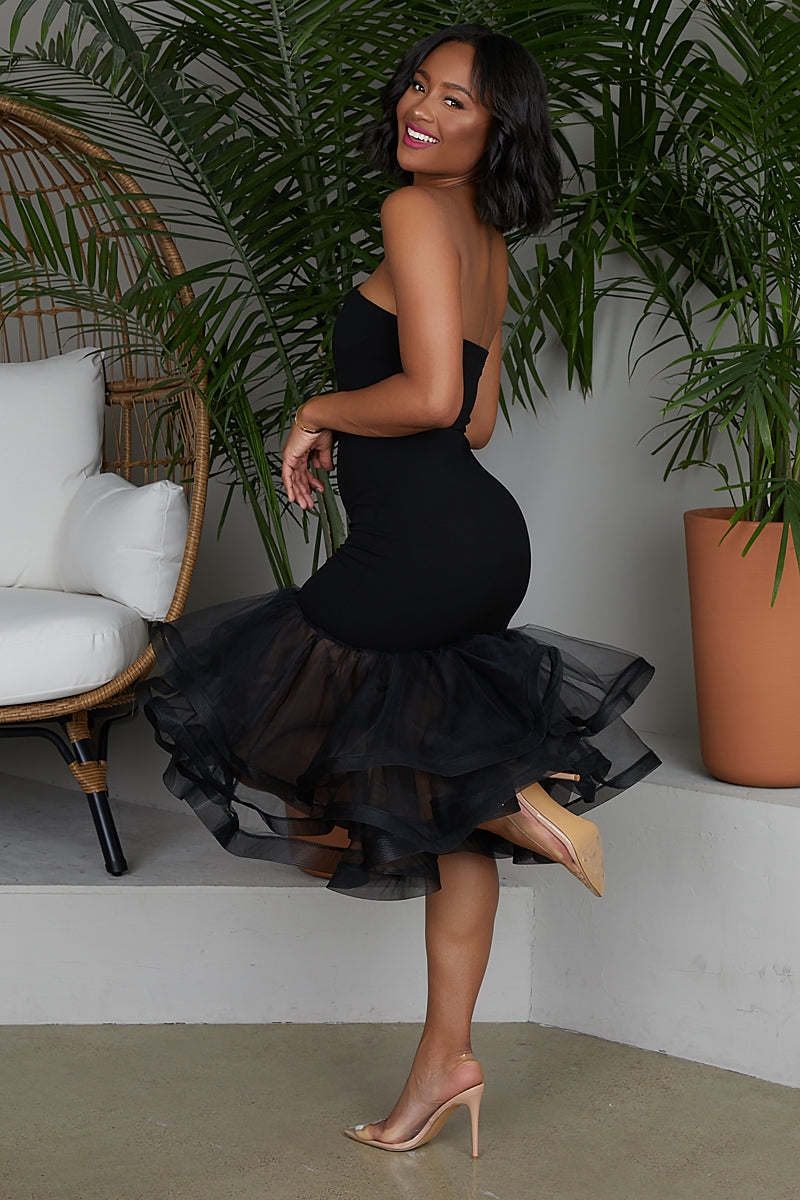 Tulle Midi Dress (Black)