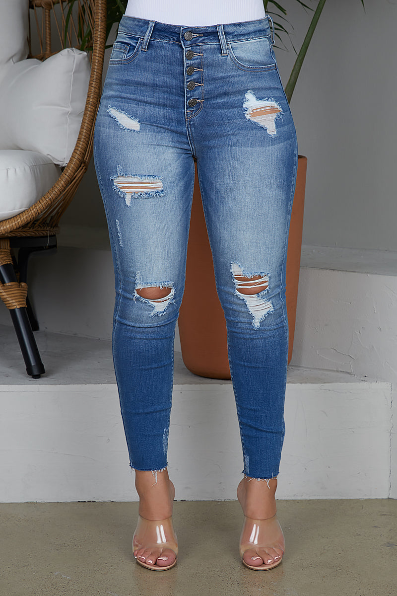 Distressed 5 Button Jeans