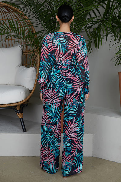 Jungle Nights Palm Print Jumpsuit