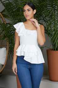 Flirt With Me Ruffle Top (Off White)