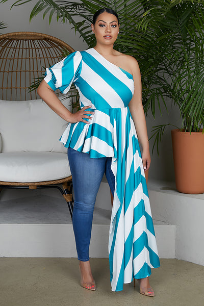 Teal Stripe Exaggerated Top