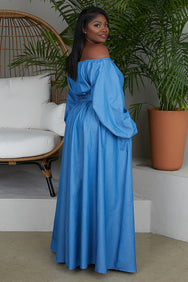 Shoulder Action Maxi Dress