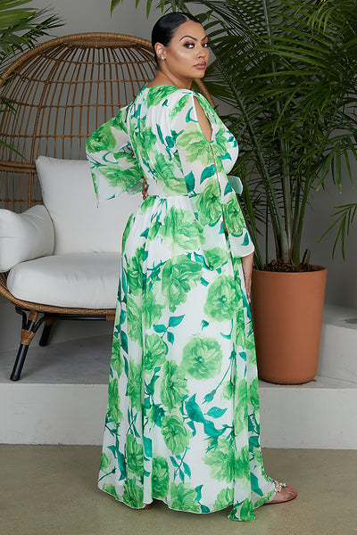 Green Floral Maxi Dress - FINAL SALE