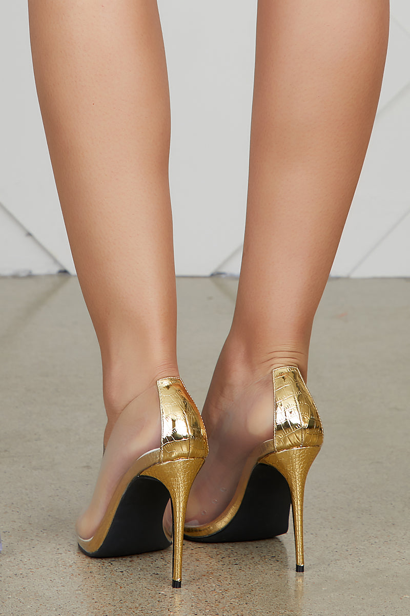Barely There Transparent Pumps (Gold)