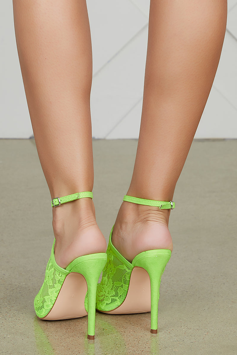 Ryanne Lace Heel (Neon Green) - FINAL SALE