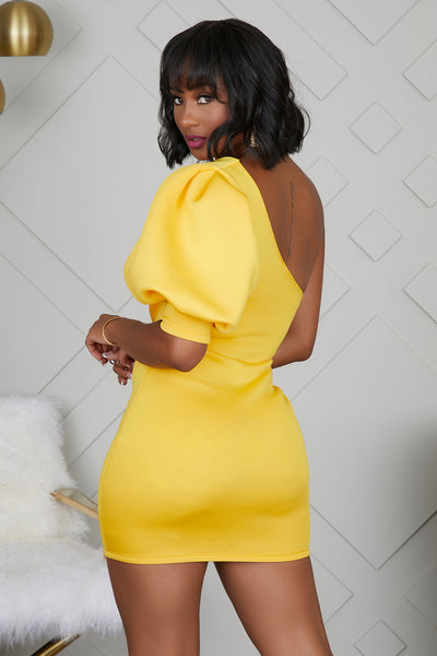 One Shoulder Party Dress (Yellow)