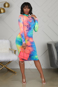 Body Con Tie Dye Dress