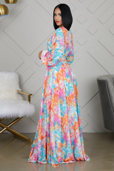 WATERCOLOR MAXI DRESS - FINAL SALE