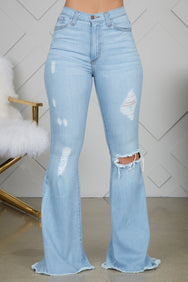 Fits Just Right Flare Jeans (Light Wash)- FINAL SALE