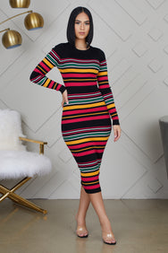 Stripe Multi Color Midi Dress